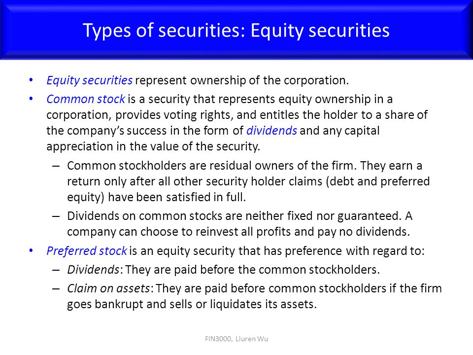 Types of securities: Equity securities