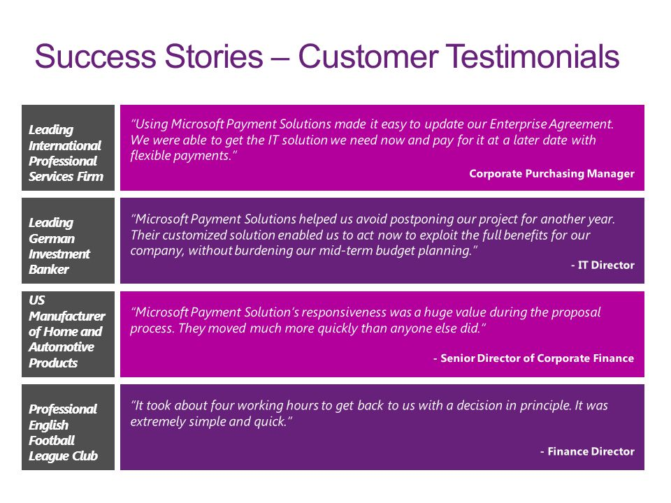 Success Stories – Customer Testimonials