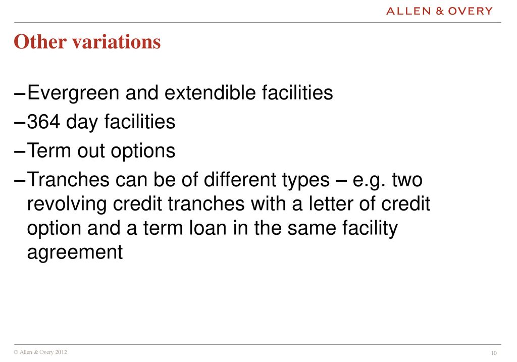 Types Of Loan Facilities And The Lma Ppt Download