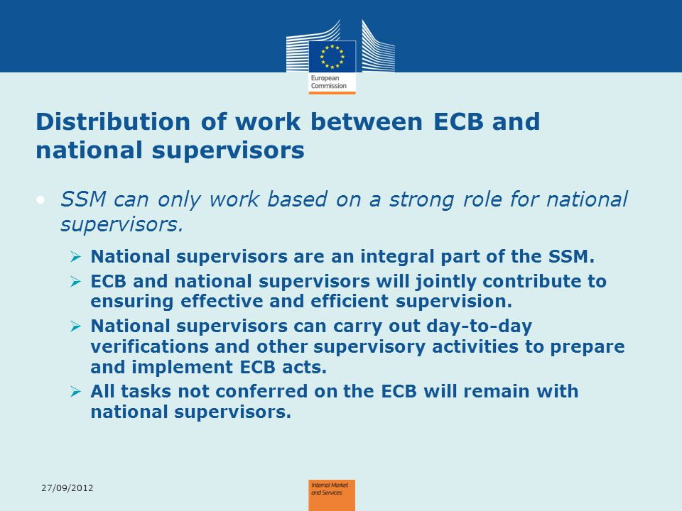 Distribution of work between ECB and national supervisors