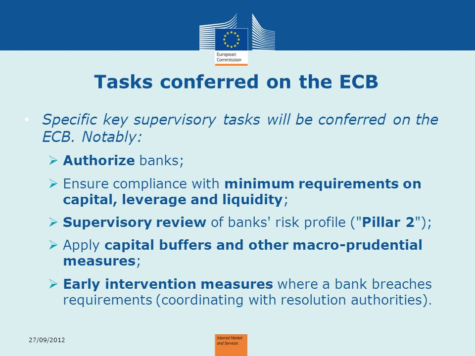 Tasks conferred on the ECB