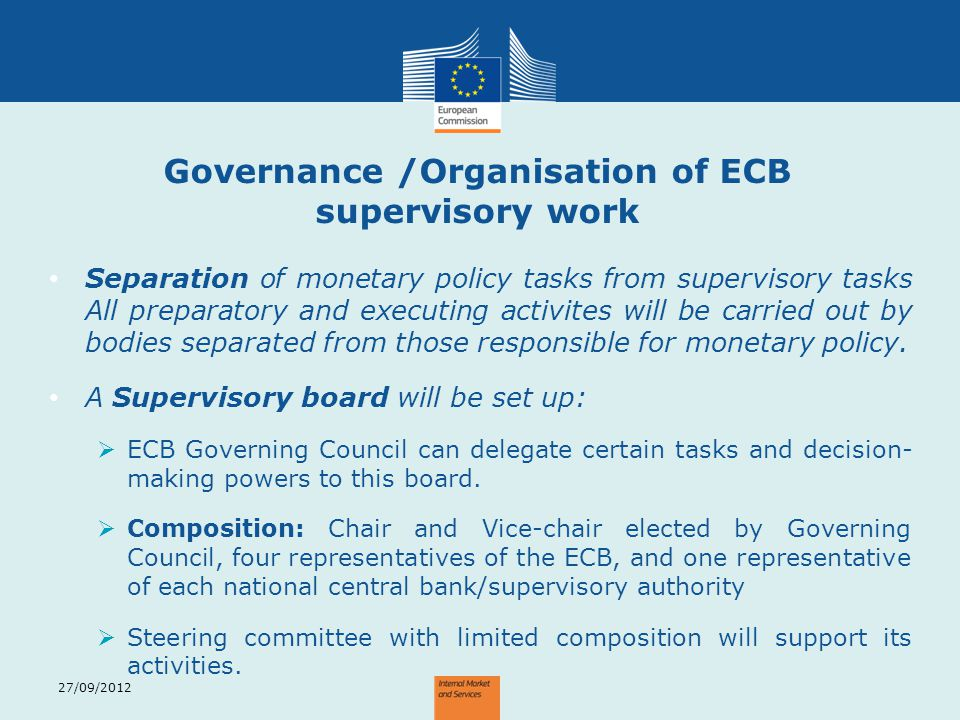 Governance /Organisation of ECB supervisory work