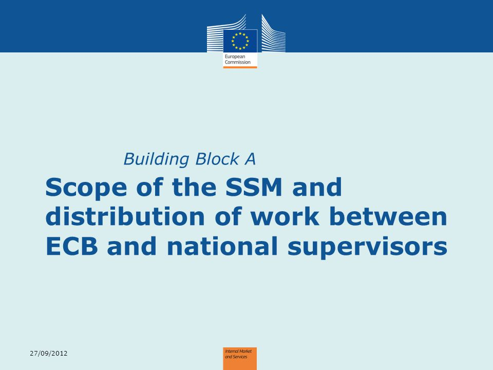 Building Block A Scope of the SSM and distribution of work between ECB and national supervisors.