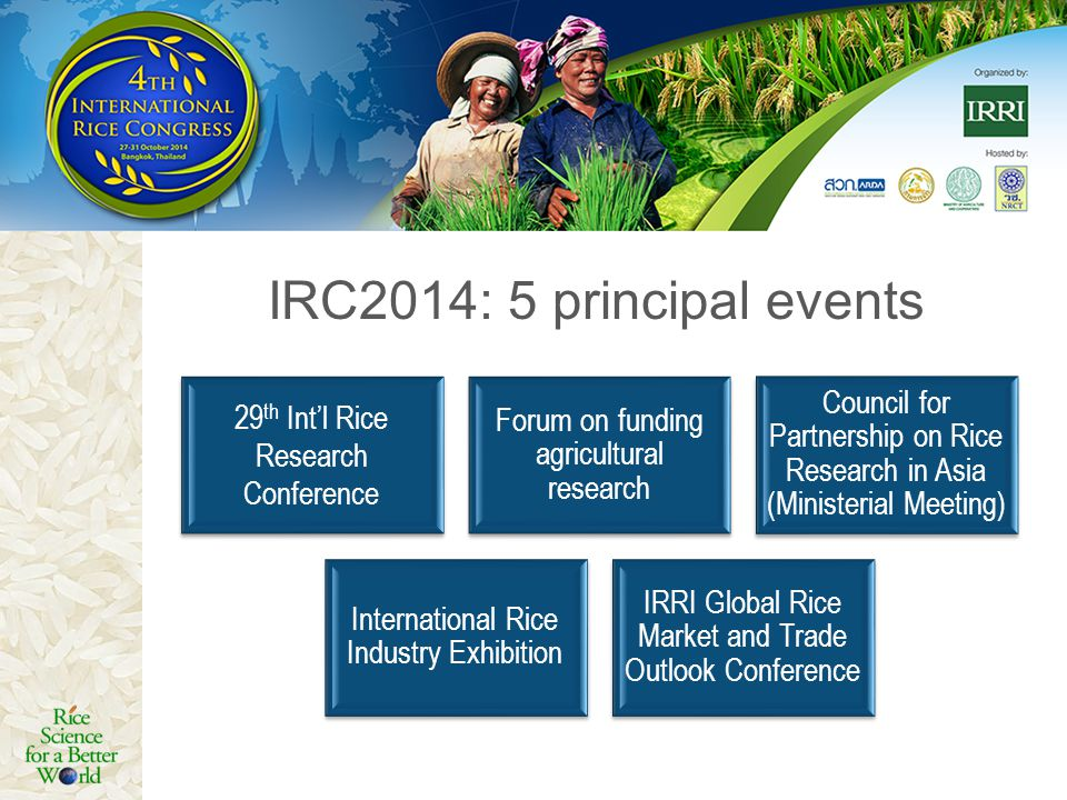 IRC2014: 5 principal events 29th Int'l Rice Research Conference. Forum on funding agricultural research.