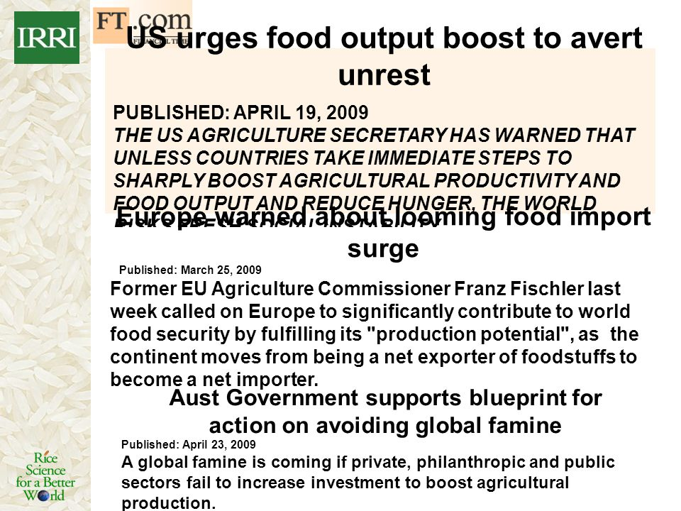 US urges food output boost to avert unrest
