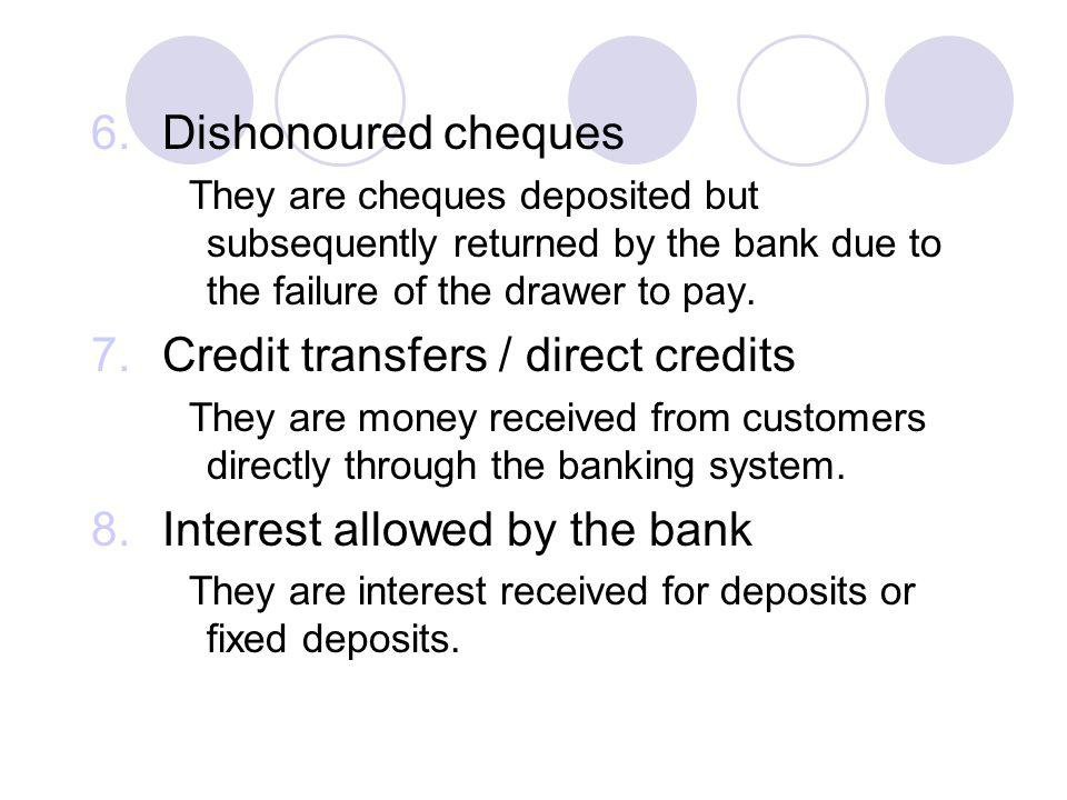 Credit transfers / direct credits