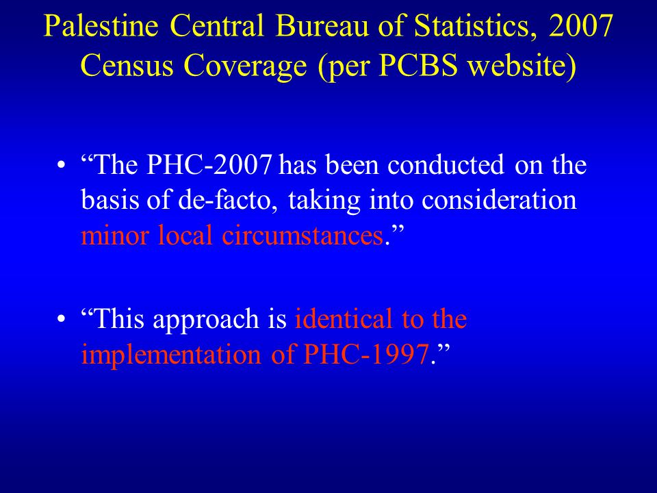 Palestine Central Bureau of Statistics, 2007 Census Coverage (per PCBS website)