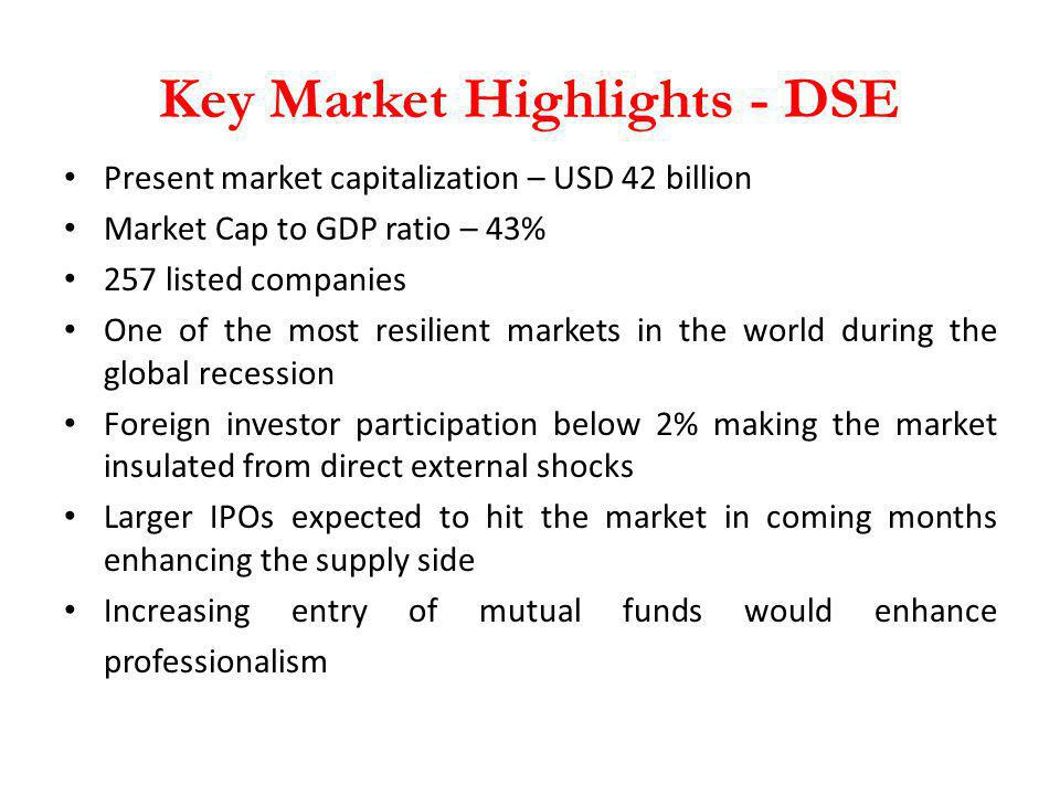 Key Market Highlights - DSE