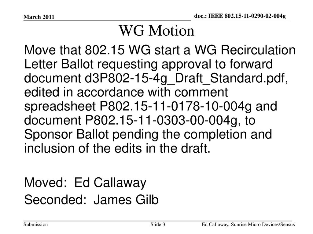 doc.: IEEE g March WG Motion.