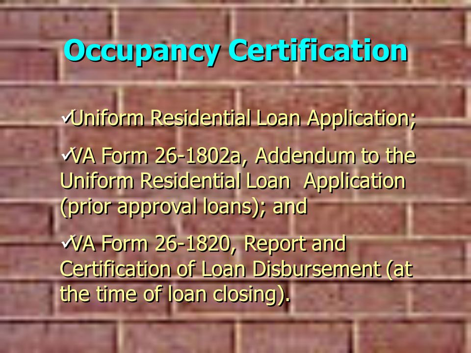 Occupancy Certification