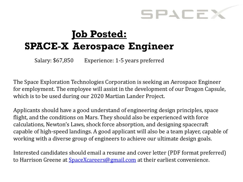 SPACE-X Aerospace Engineer - ppt download