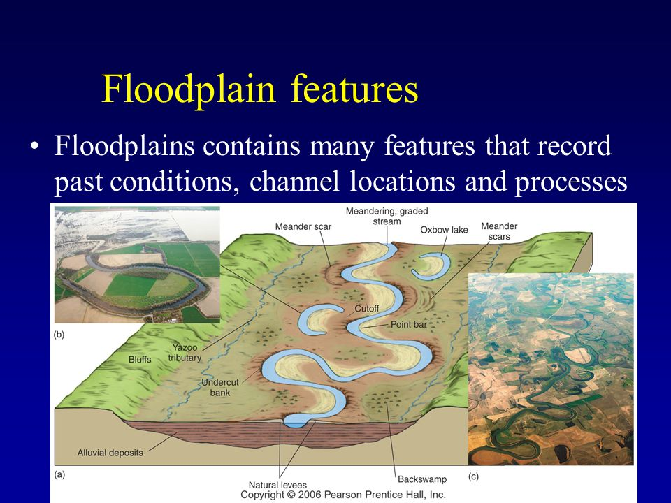 Floodplain features Floodplains contains many features that record past conditions, channel locations and processes.