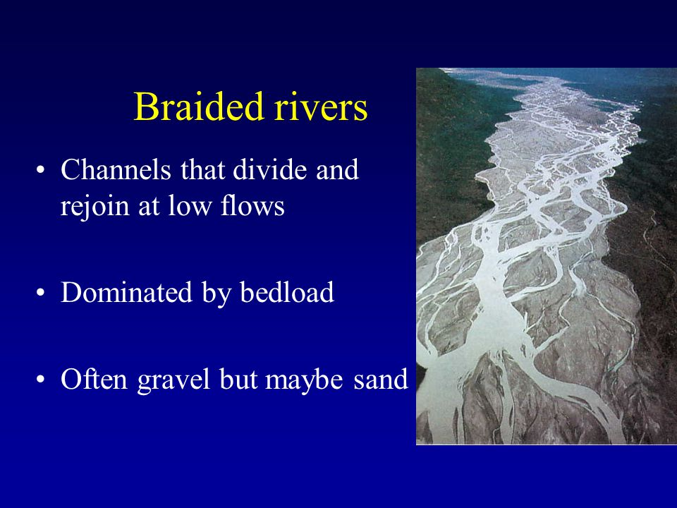 Braided rivers Channels that divide and rejoin at low flows