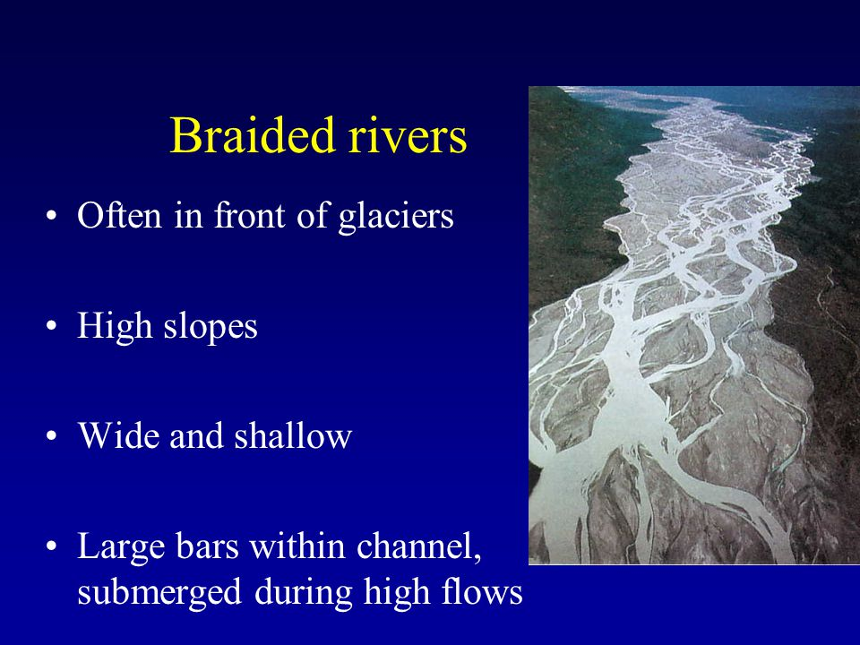 Braided rivers Often in front of glaciers High slopes Wide and shallow