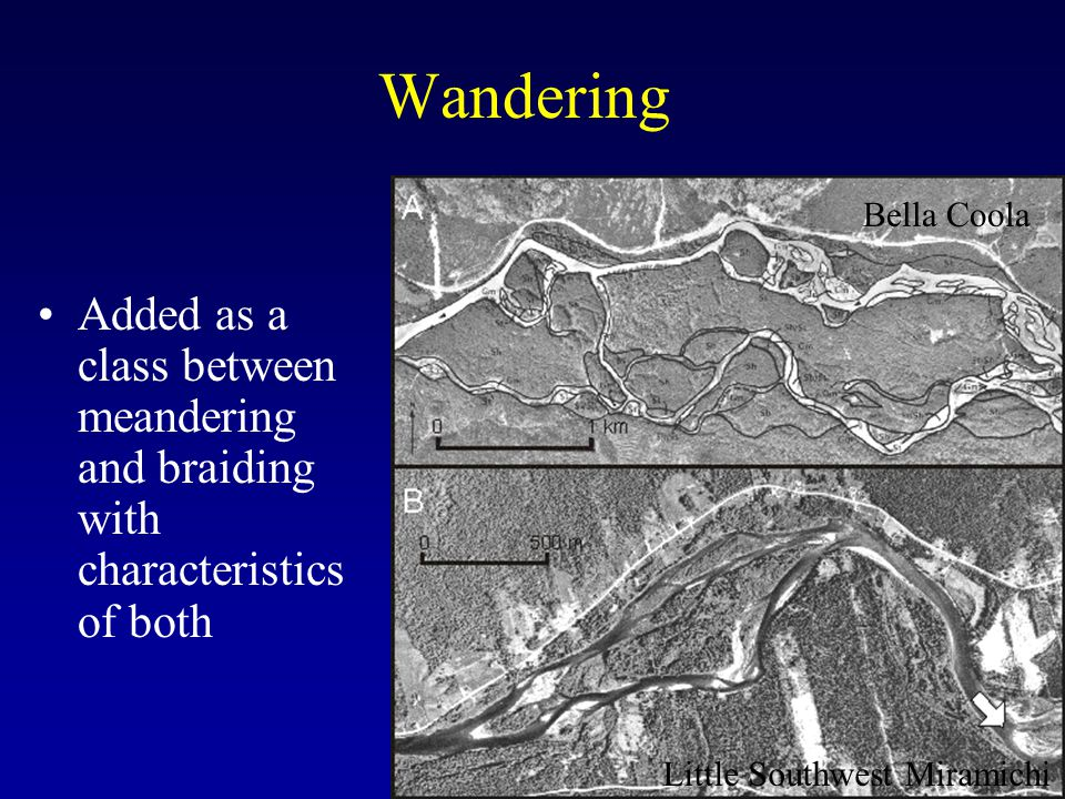 Wandering Bella Coola. Added as a class between meandering and braiding with characteristics of both.