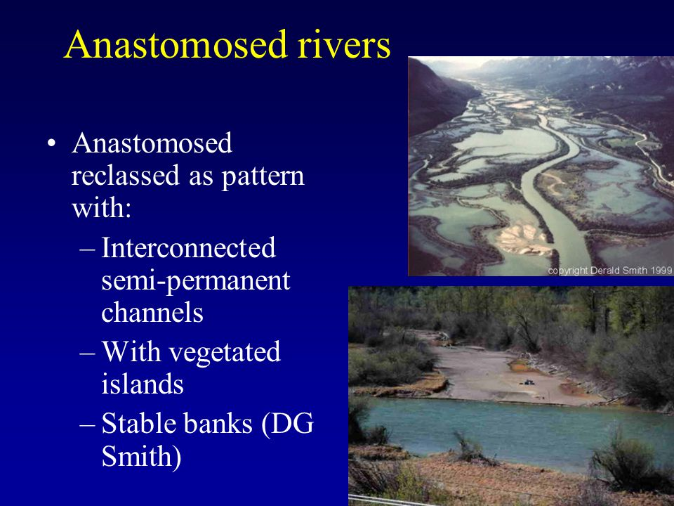 Anastomosed rivers Anastomosed reclassed as pattern with: