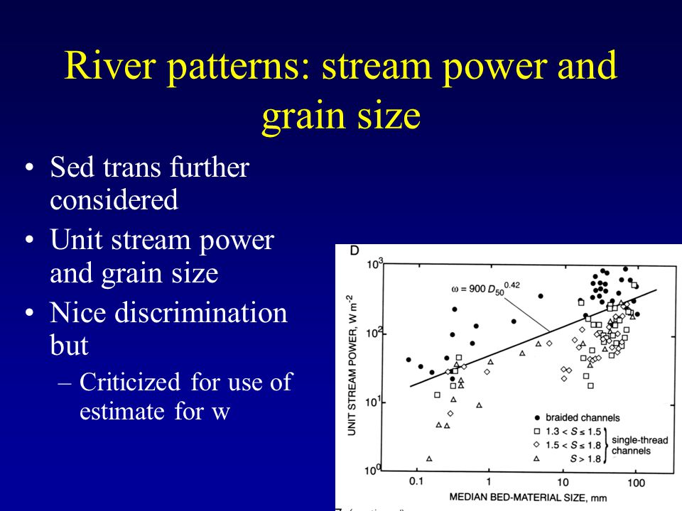 River patterns: stream power and grain size