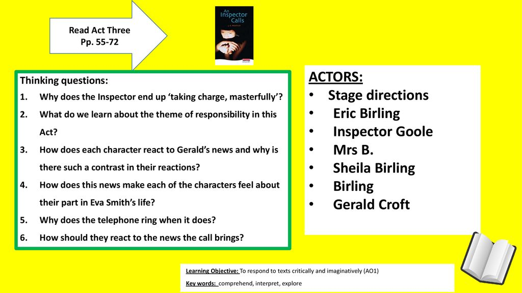 ACTORS: Stage directions Eric Birling Inspector Goole Mrs B