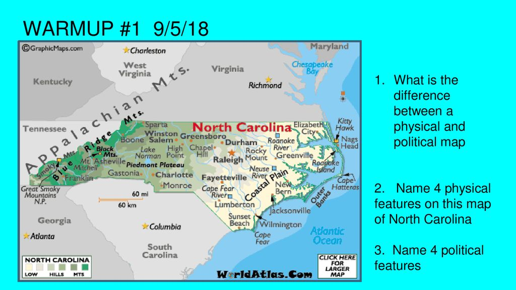 Picture of: Warmup 1 9 5 18 What Is The Difference Between A Physical And Political Map 2 Name 4 Physical Features On This Map Of North Carolina 3 Name 4 Political Ppt Download