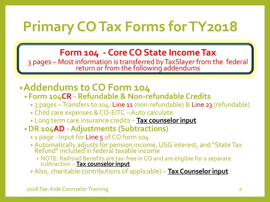 Colorado State Taxes Keith Hamlyn Ppt Download