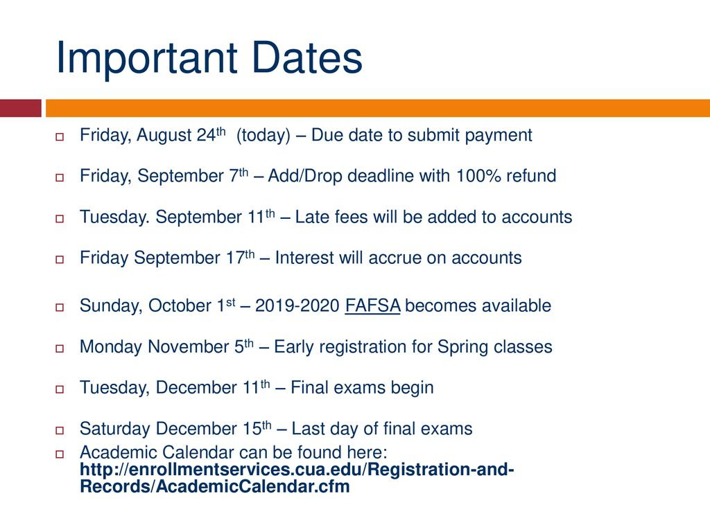 Cua Academic Calendar.Offices Of Of Enrollment Services Ppt Download