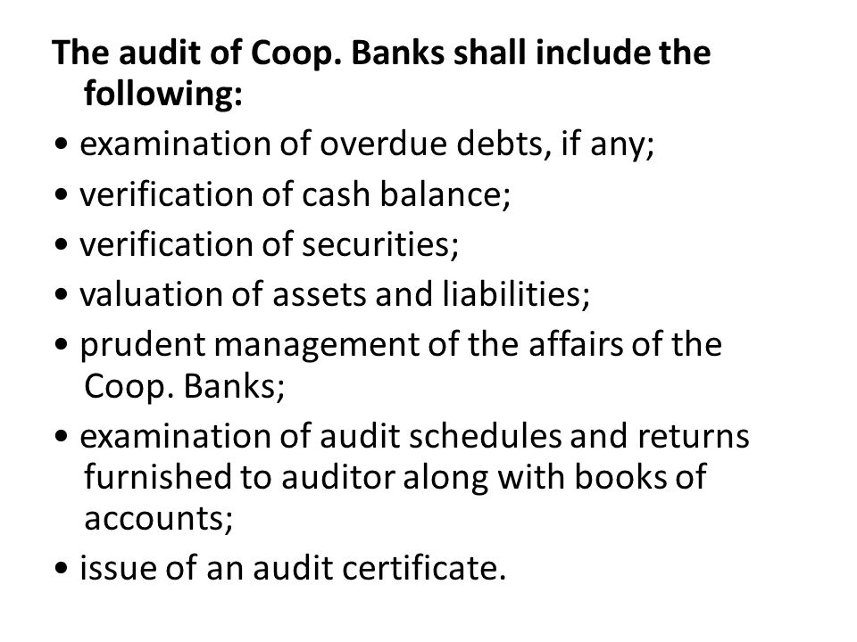 The audit of Coop.