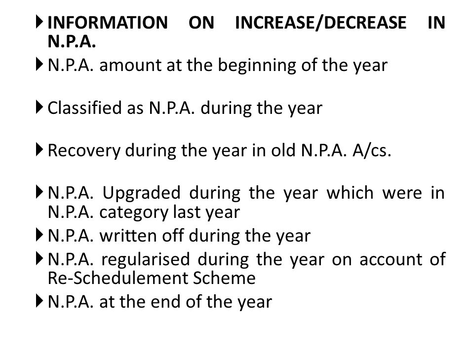 INFORMATION ON INCREASE/DECREASE IN N.P.A.