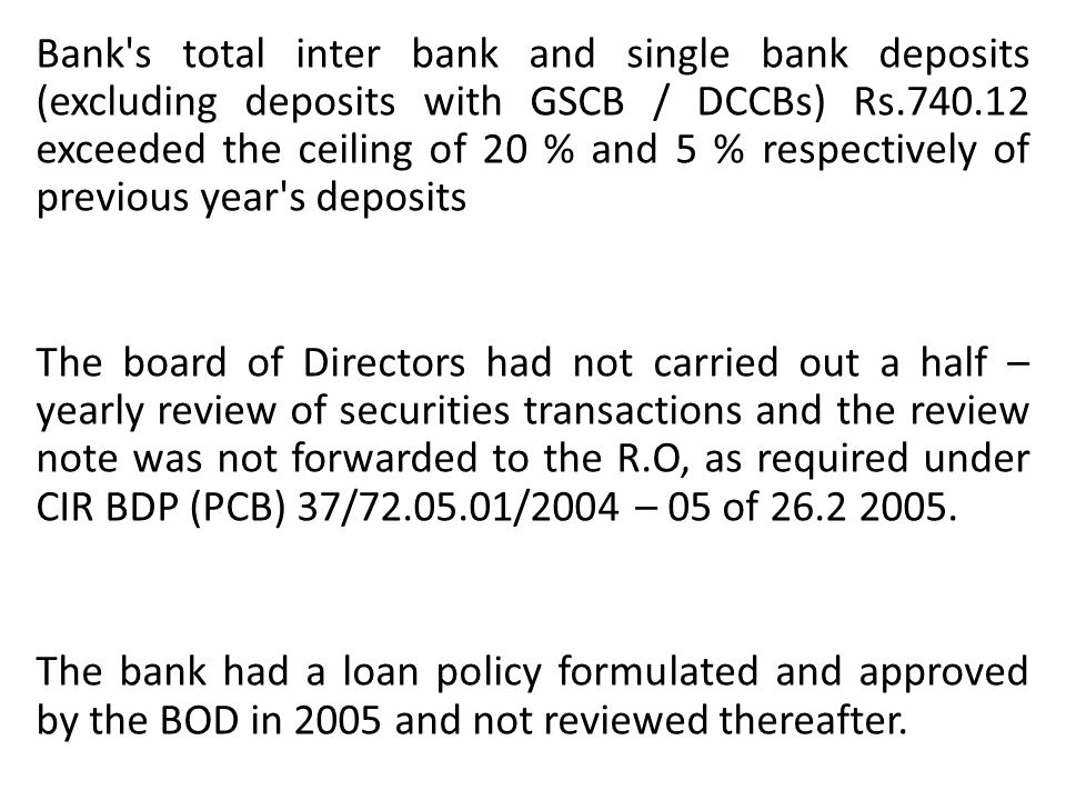 Bank s total inter bank and single bank deposits (excluding deposits with GSCB / DCCBs) Rs.740.12 exceeded the ceiling of 20 % and 5 % respectively of previous year s deposits