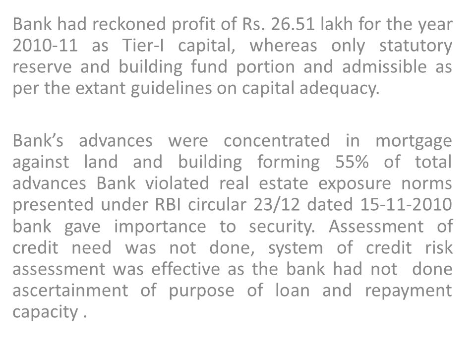 Bank had reckoned profit of Rs. 26