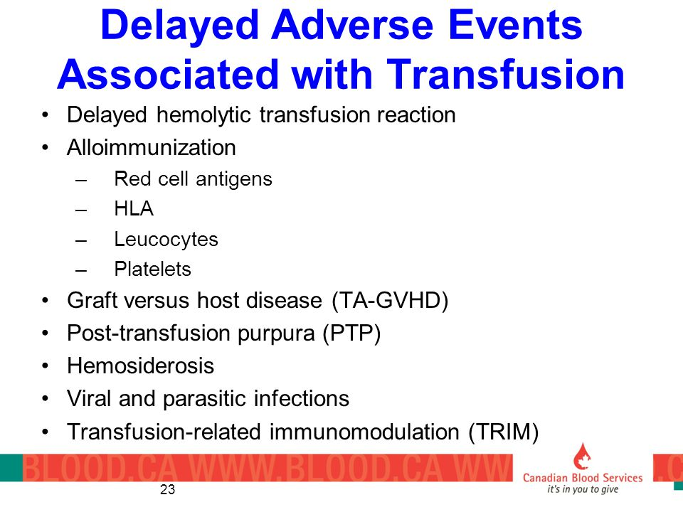 Delayed Adverse Events Associated with Transfusion