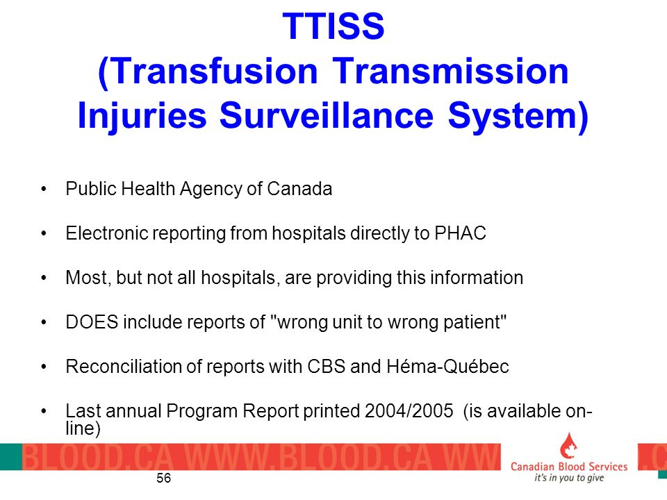 TTISS (Transfusion Transmission Injuries Surveillance System)