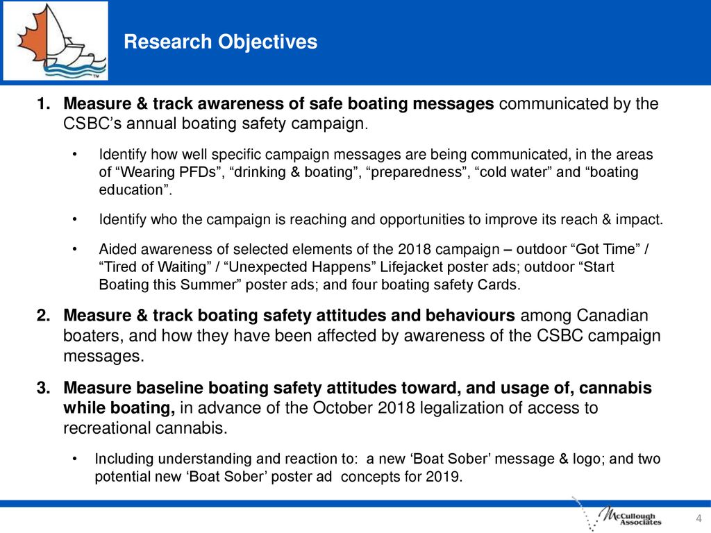Research Objectives Measure & track awareness of safe boating messages communicated by the CSBC's annual boating safety campaign.
