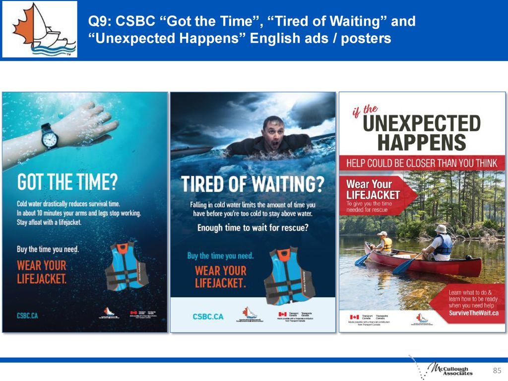 Q9: CSBC Got the Time , Tired of Waiting and Unexpected Happens English ads / posters