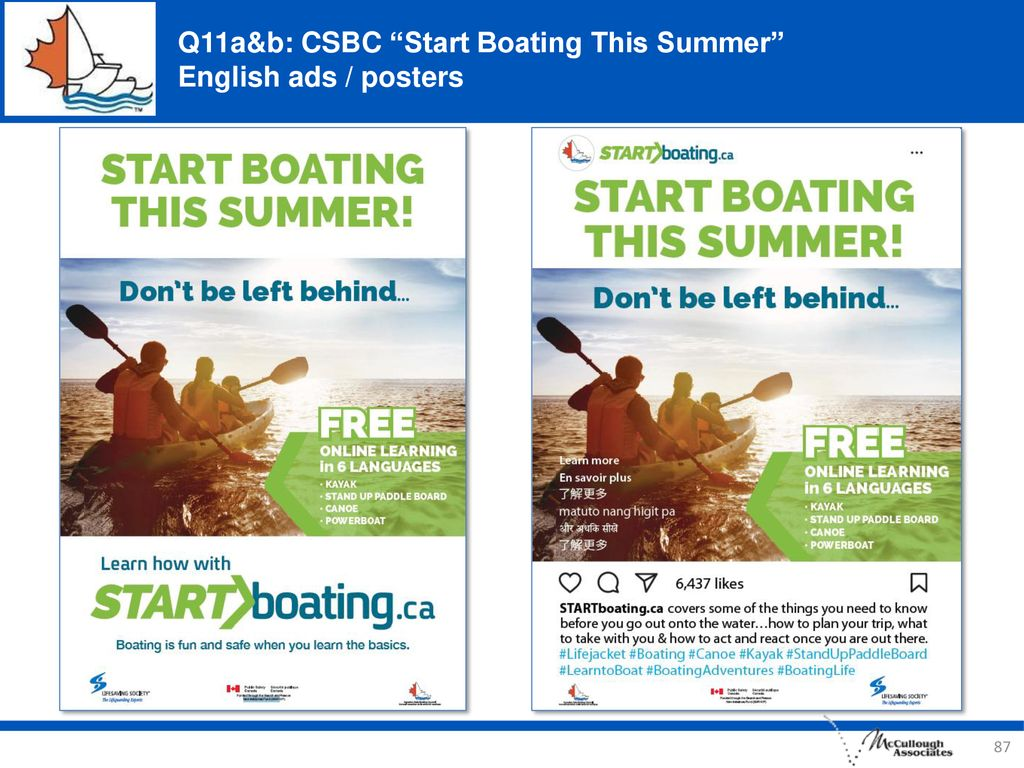 Q11a&b: CSBC Start Boating This Summer English ads / posters