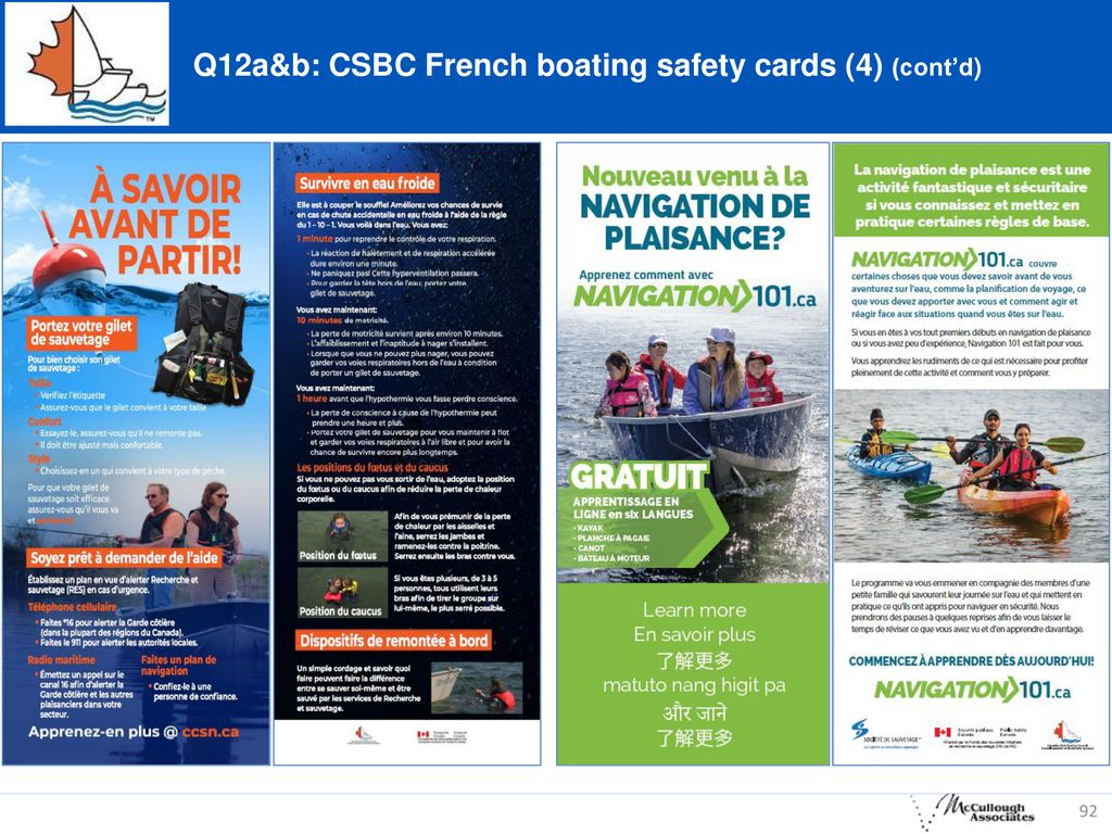 Q12a&b: CSBC French boating safety cards (4) (cont'd)