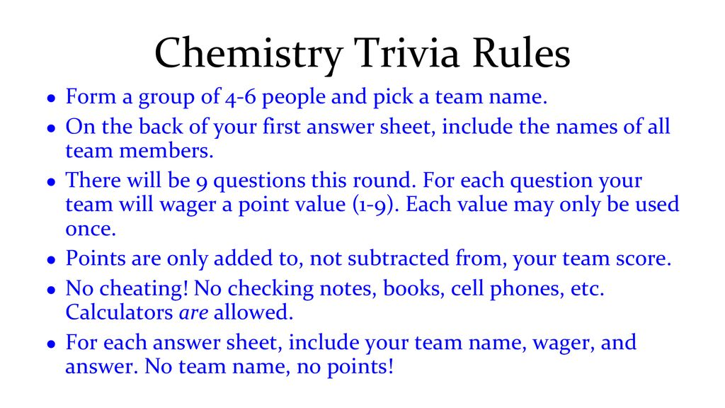 Chemistry Trivia Monday  - ppt download