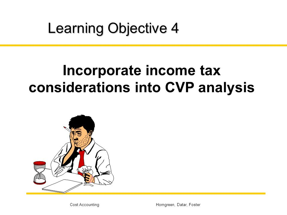 Incorporate income tax considerations into CVP analysis