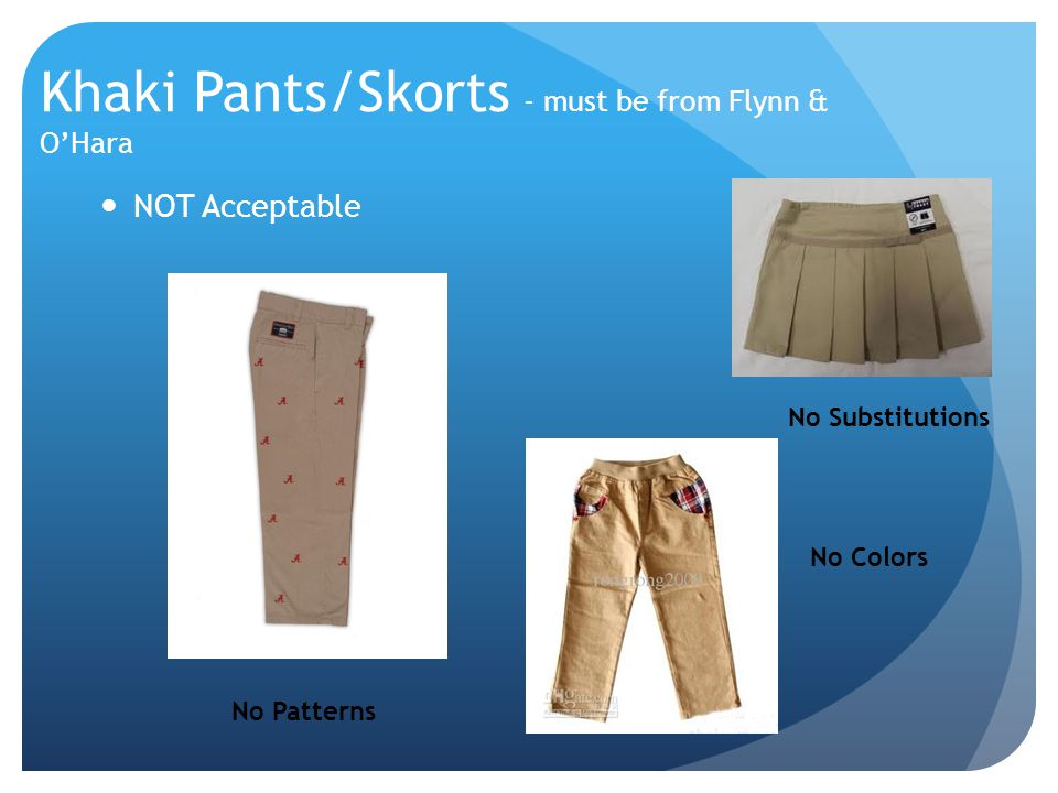 Khaki Pants/Skorts - must be from Flynn & O'Hara