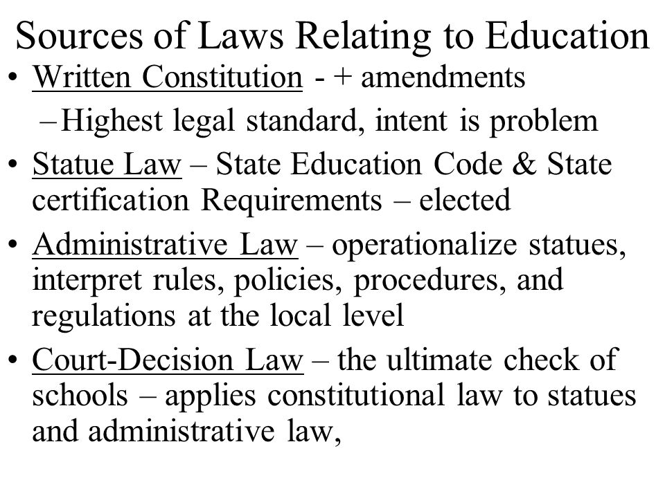 Sources of Laws Relating to Education