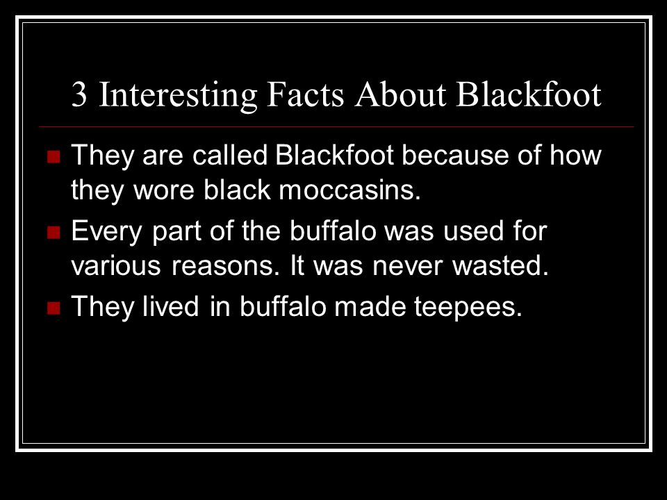 3 Interesting Facts About Blackfoot