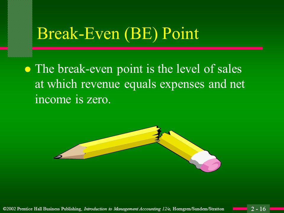 Break-Even (BE) Point The break-even point is the level of sales at which revenue equals expenses and net income is zero.