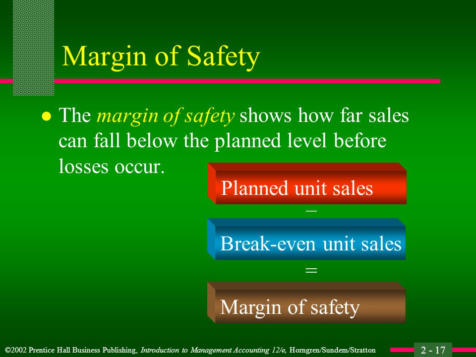 Margin of Safety The margin of safety shows how far sales can fall below the planned level before losses occur.