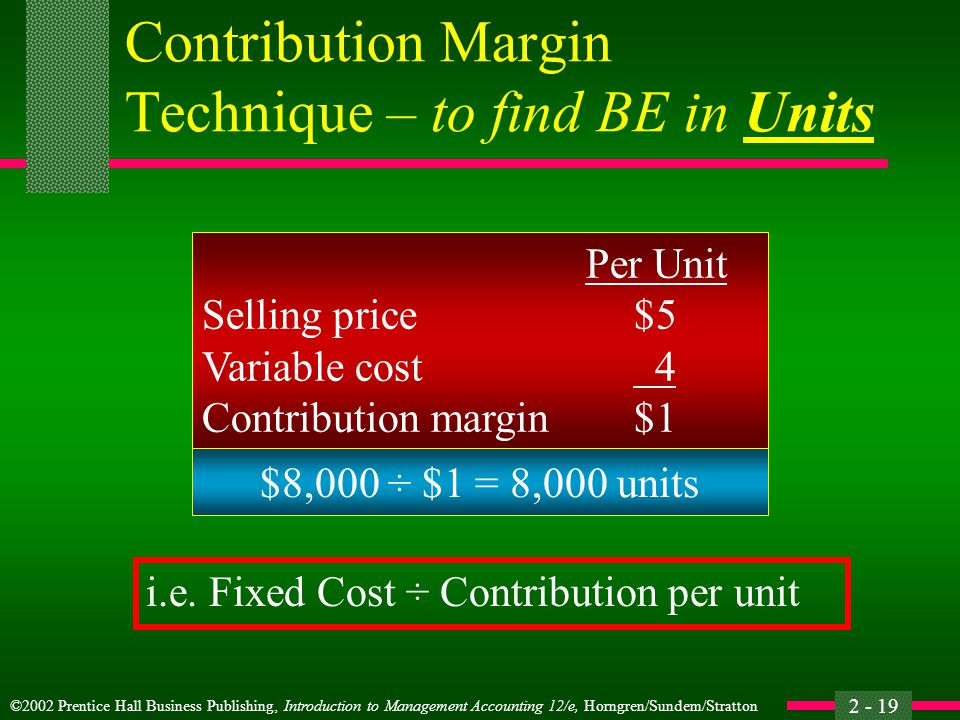 Contribution Margin Technique – to find BE in Units