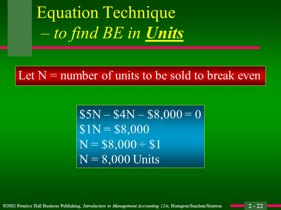 Equation Technique – to find BE in Units