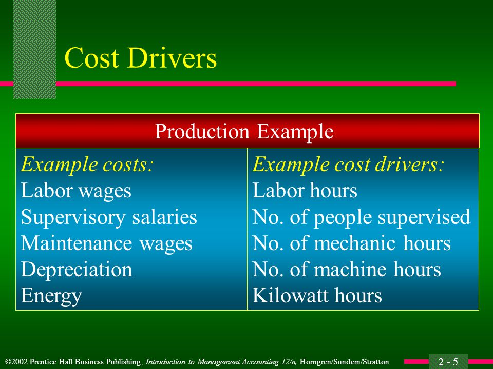 Cost Drivers Production Example Example costs: Labor wages
