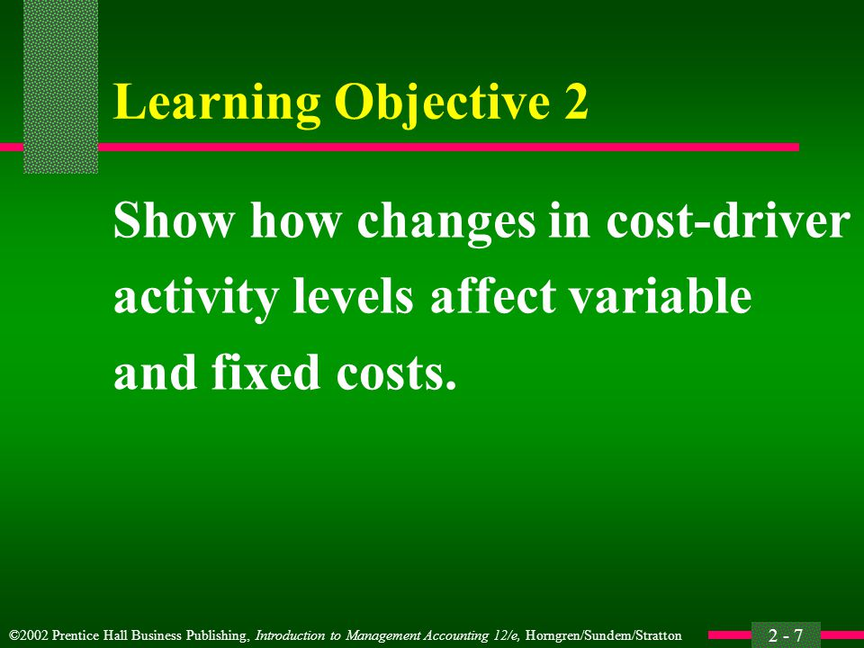 Learning Objective 2 Show how changes in cost-driver.