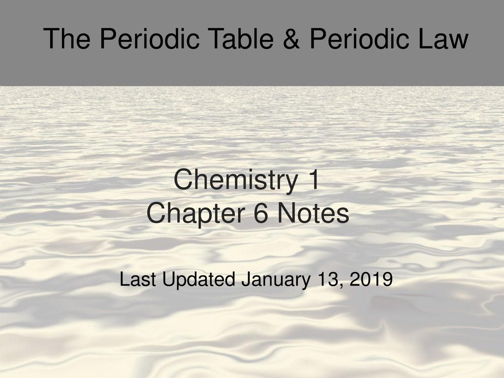 Chemistry 1 Chapter 6 Notes - ppt download