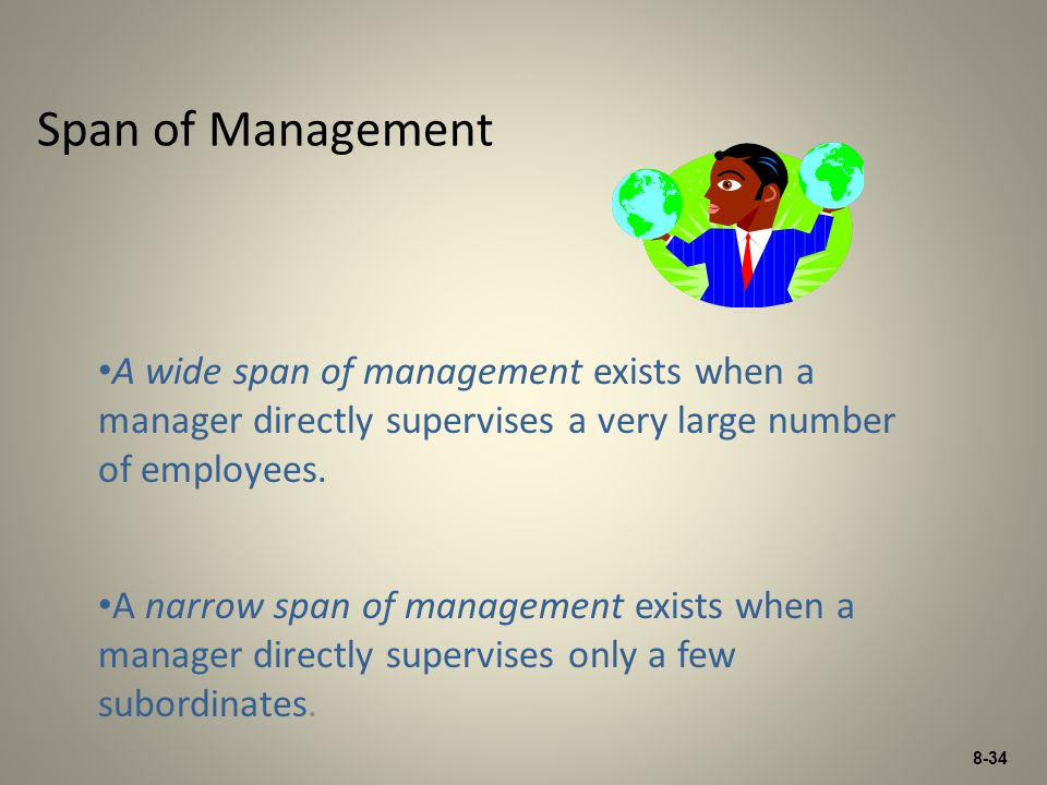 Span of Management A wide span of management exists when a manager directly supervises a very large number of employees.