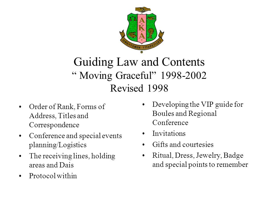 Guiding Law and Contents Moving Graceful 1998-2002 Revised 1998