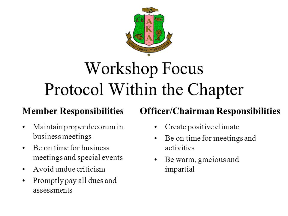 Workshop Focus Protocol Within the Chapter